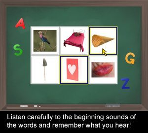 Listen carefully to the beginning sounds of the words and remember what you hear!